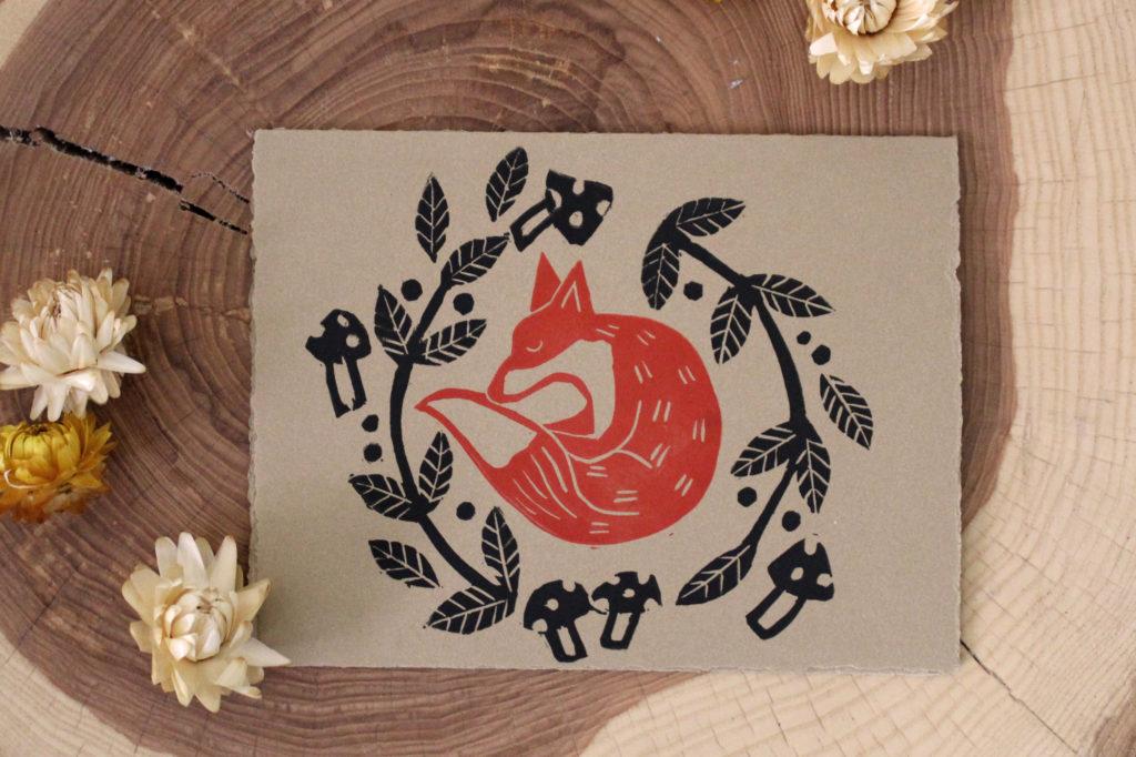 Fox Den Linocut Card