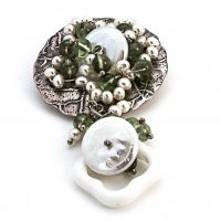 white pearls & Green peridot on silver brooch