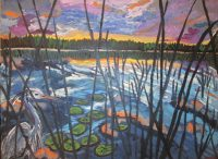 Peekaboo heron at sunset, acrylic, 18x24, $590.JPG