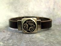 ADesigns #7 Celtic Goddess Dolphin Nehalennia Handmade Leather Bracelet.jpg