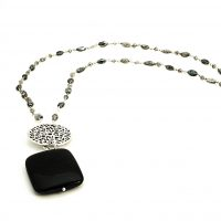 black goldstone, and silve pendant on labradortite necklace