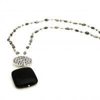 black goldstone, and silve pendant on labradortite necklace