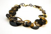 2 tone (chocalate, carmel and sand) horn necklace