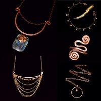 GERMINATE... .Labradortie Flow Necklace .Flow Necklace .Spiral Anklet .Adjustable Spiral Ring .Element Lava Neckace .upcycled copper & brass.jpg