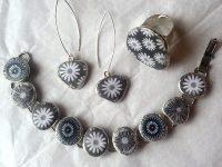 link bracelet, ring and earrings