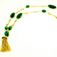 Malachite (light & dark green) & Vermeil tassle & chain necklace