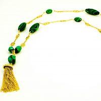 Malachite (light & dark green) & Vermeil tassle & chain necklace
