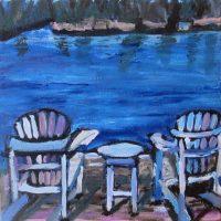 Relaxing in Muskoka, acrylic on canvas, 8x8, $90.JPG