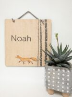 Custom name sign with fox and birch trees